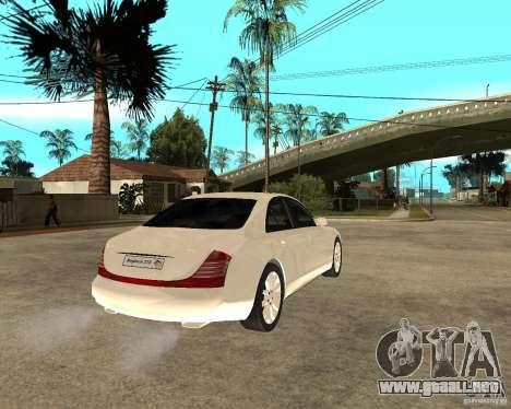 Maybach 57 S para GTA San Andreas vista posterior izquierda