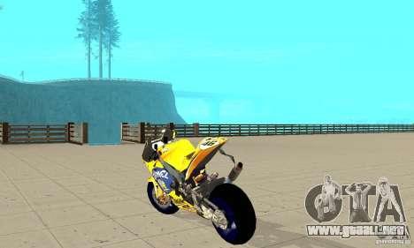 Honda Valentino Rossi Bf400 para GTA San Andreas vista posterior izquierda