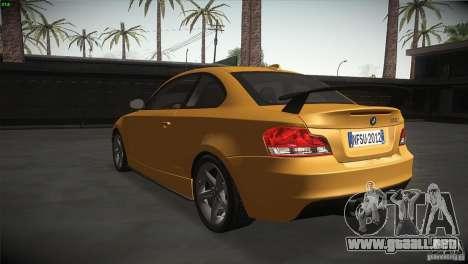 BMW 135i Coupe Road Edition para GTA San Andreas vista posterior izquierda