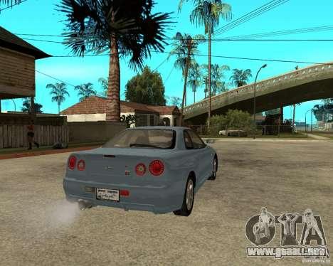 Nissan SkyLine R-34 Tunable para GTA San Andreas vista hacia atrás