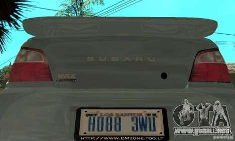 Subaru Impreza 2002 Tunable - Stock para vista lateral GTA San Andreas