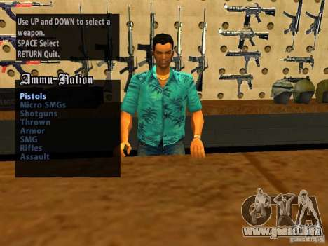 Tommy Vercetti en AMMU-NATION para GTA San Andreas sucesivamente de pantalla