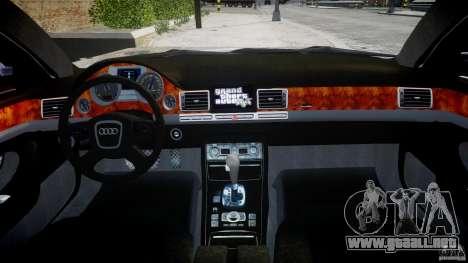 Audi S8 D3 2009 para GTA 4 vista desde abajo