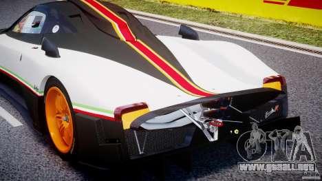 Pagani Zonda R 2009 Italian Stripes para GTA 4 vista superior