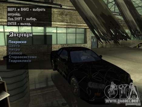 Nissan Skyline GT-R34 V-Spec para visión interna GTA San Andreas
