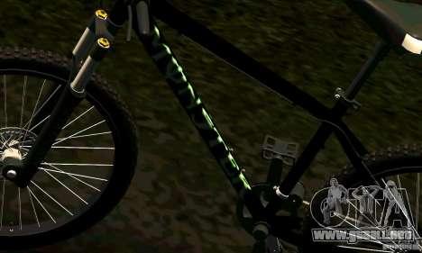 Bicicleta con Monster Energy para GTA San Andreas vista hacia atrás