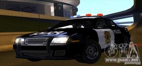 NFS Undercover Police Car para GTA San Andreas vista posterior izquierda