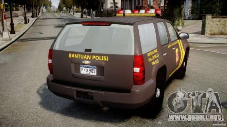 Chevrolet Tahoe Indonesia Police para GTA 4 Vista posterior izquierda