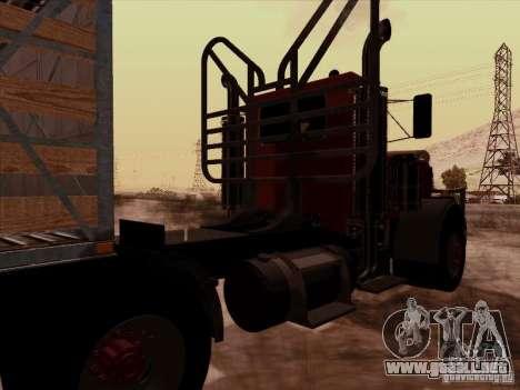 Peterbilt 359 Day Cab para GTA San Andreas vista hacia atrás