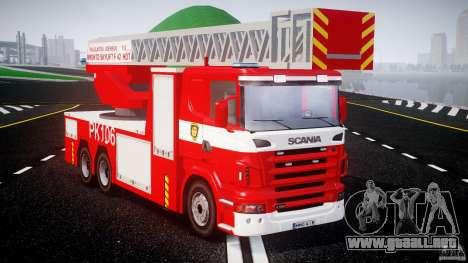 Scania R580 Fire ladder PK106 [ELS] para GTA 4 visión correcta