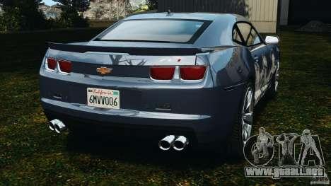 Chevrolet Camaro ZL1 2012 v1.0 Smoke Stripe para GTA 4 Vista posterior izquierda