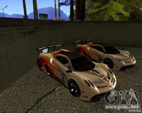 Pagani Huayra SHE para GTA San Andreas vista hacia atrás