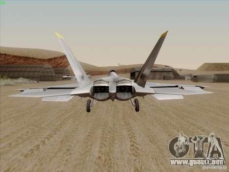 FA22 Raptor para GTA San Andreas vista posterior izquierda