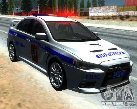 Mitsubishi Lancer Evolution X PPP policía para GTA San Andreas