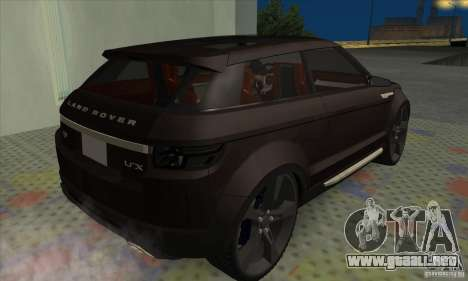 Land Rover LRX para GTA San Andreas vista posterior izquierda