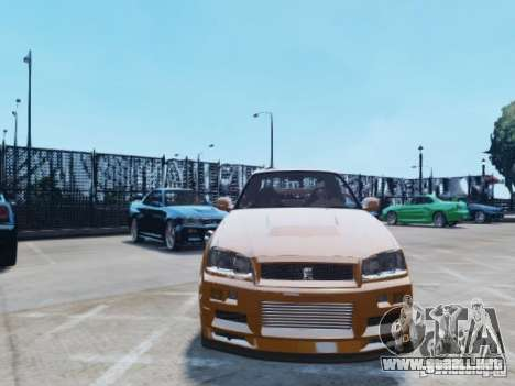Nissan Skyline GT-R R34 Fast and Furious 4 para GTA 4 vista lateral