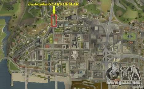 Vallas publicitarias en GEARS OF WAR para GTA San Andreas sucesivamente de pantalla
