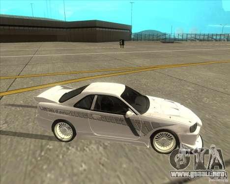 Nissan Skyline R34 Veilside street drag para GTA San Andreas vista hacia atrás
