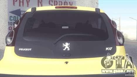 Peugeot 107 2011 para la visión correcta GTA San Andreas