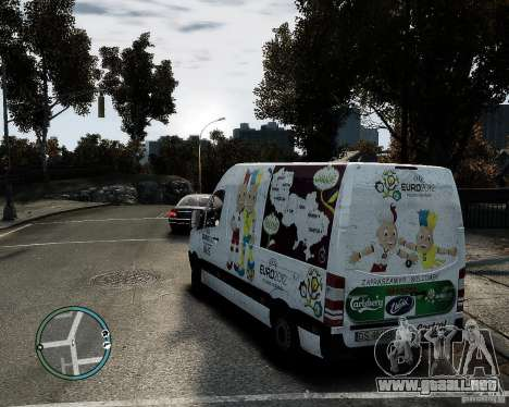 Euro 2012 Bus Mercedes Sprinter para GTA 4 left