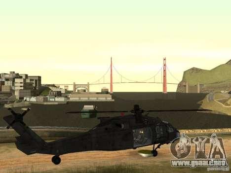El helicóptero de CoD 4 MW para GTA San Andreas vista hacia atrás