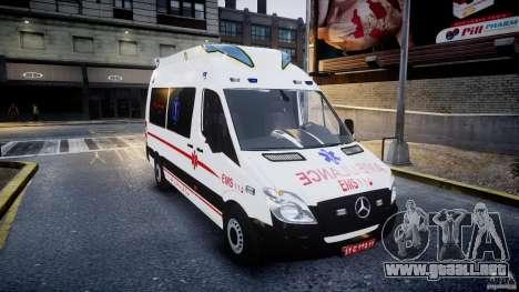Mercedes-Benz Sprinter Iranian Ambulance [ELS] para GTA 4 vista hacia atrás