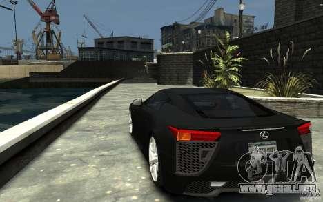Lexus LFA v1.0 para GTA 4 Vista posterior izquierda