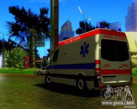 Mercedes-Benz Sprinter Baku Ambulans para visión interna GTA San Andreas