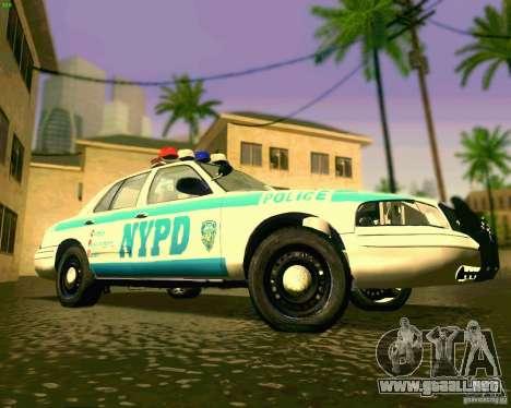 Ford Crown Victoria 2003 NYPD police para visión interna GTA San Andreas