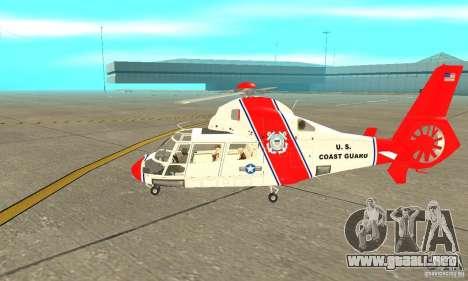 Guardacostas de Estados Unidos AS-365N para GTA San Andreas vista posterior izquierda
