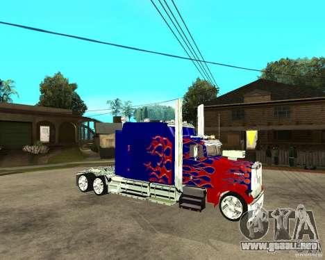 Truck Optimus Prime para la visión correcta GTA San Andreas