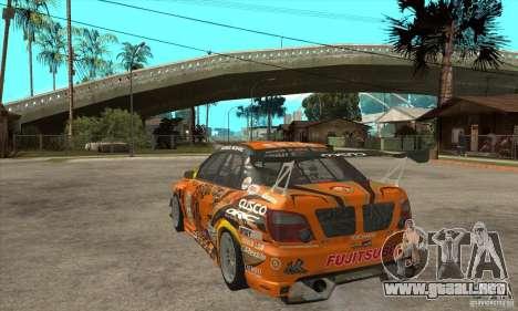 Subaru Impreza D1 WRX Yukes Team Orange para GTA San Andreas vista posterior izquierda