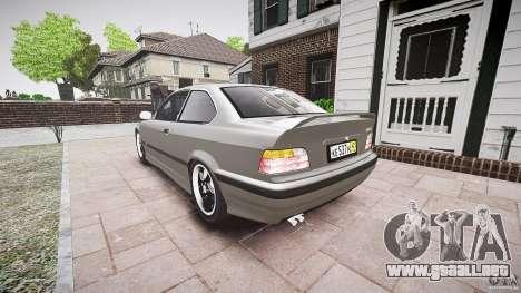 BMW E36 328i v2.0 para GTA 4 Vista posterior izquierda