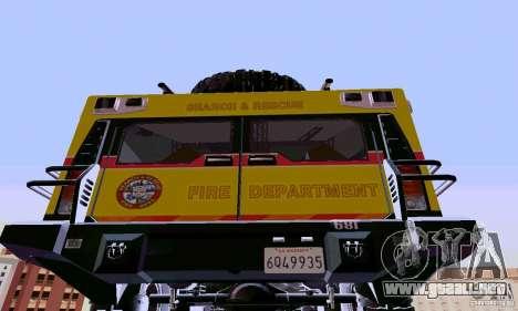 Hummer H2 Ambluance de transformadores para GTA San Andreas vista posterior izquierda