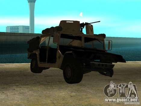 Hummer H1 HMMWV with mounted Cal.50 para GTA San Andreas vista posterior izquierda