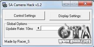 CamHack v1.2 para GTA San Andreas sucesivamente de pantalla