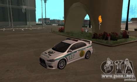 Mitsubishi Lancer Evolution X policía de Kazajis para GTA San Andreas