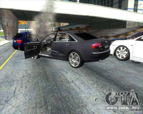 Audi A8L W12 para GTA San Andreas vista hacia atrás