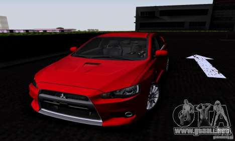 Mitsubishi Lancer Evolution X 2008 para GTA San Andreas vista posterior izquierda