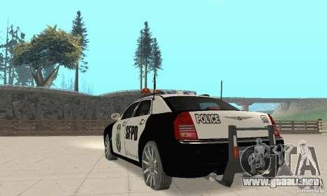 Chrysler 300C Police v2.0 para GTA San Andreas vista posterior izquierda