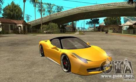 Ferrari 458 Italia custom para GTA San Andreas vista hacia atrás