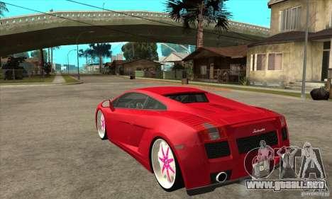 Lamborghini Gallardo White & Pink para GTA San Andreas vista posterior izquierda