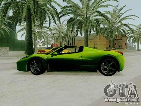 Ferrari 458 Spider para GTA San Andreas left