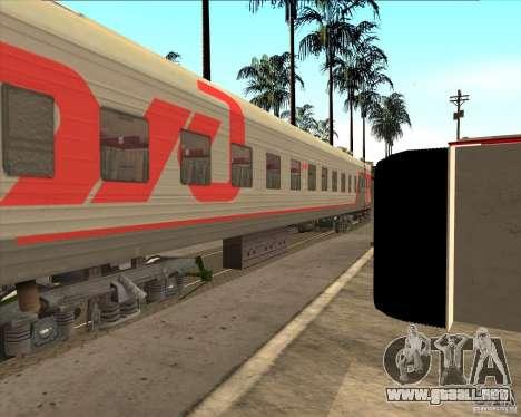 Coche de pasajeros RZD para GTA San Andreas vista hacia atrás