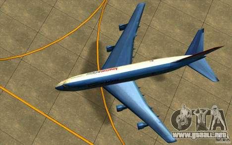 B-747 American Airlines Skin para GTA San Andreas vista hacia atrás