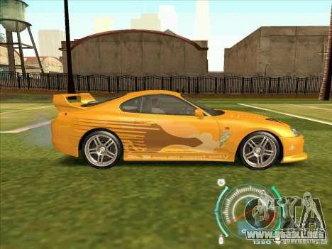 Toyota Supra from 2 Fast 2 Furious para vista lateral GTA San Andreas
