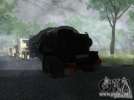 Remolque blindado combustible Mack Truck Titan para GTA San Andreas vista posterior izquierda