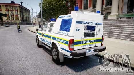 Nissan Frontier Essex Police Unit para GTA 4 Vista posterior izquierda