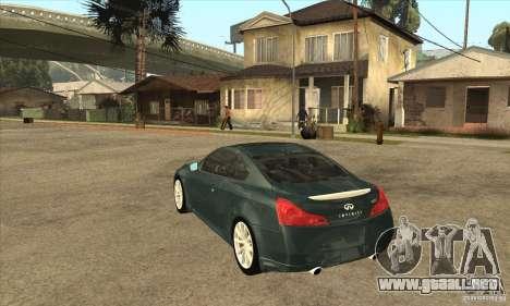 Infiniti G37 Coupe Sport para la visión correcta GTA San Andreas