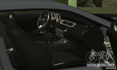 Chevrolet Camaro ZL1 2012 para vista lateral GTA San Andreas